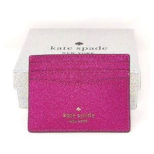 🆕 Kate Spade NY Lola Glitter Pink Card Holder NWT